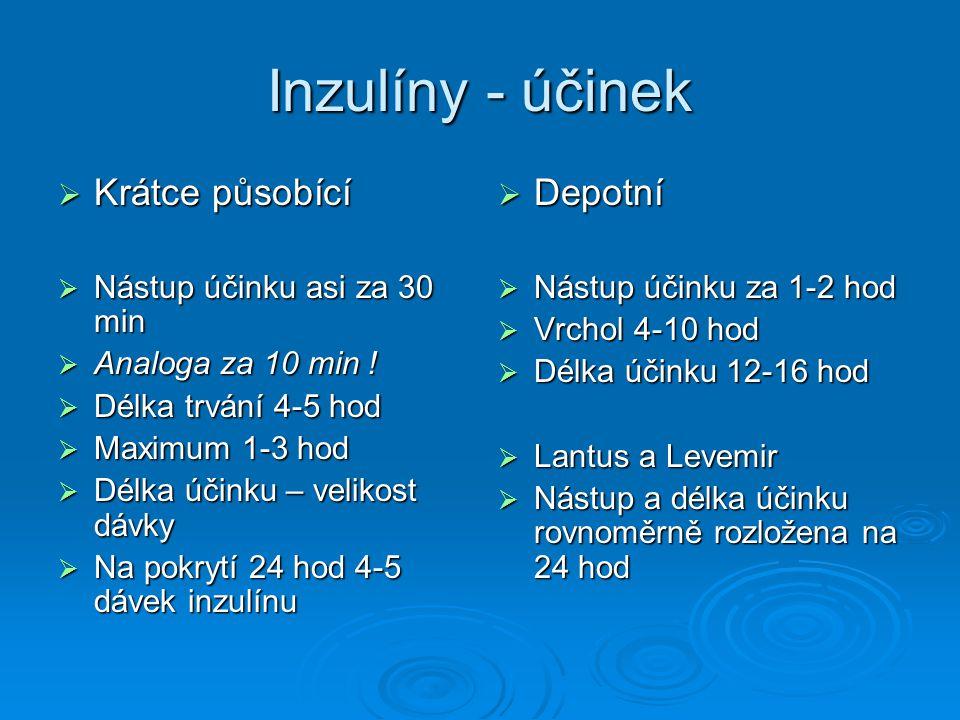 Inzulíny - účinek  Krátce působící  Nástup účinku asi za 30 min  Analoga za 10 min .