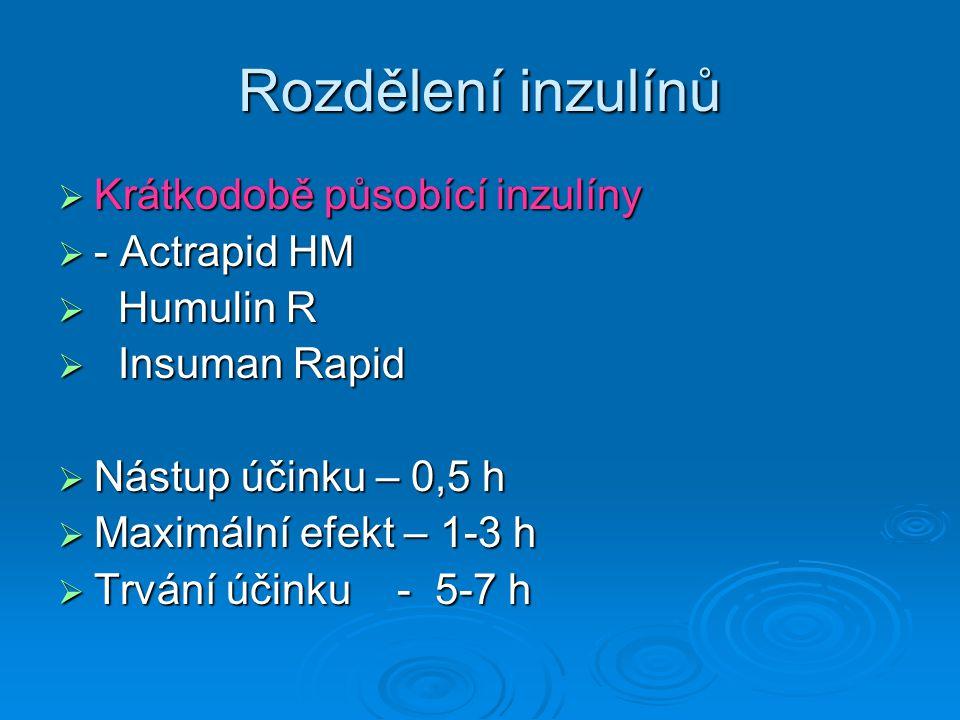 Rozdělení inzulínů  Krátkodobě působící inzulíny  - Actrapid HM  Humulin R  Insuman Rapid  Nástup účinku – 0,5 h  Maximální efekt – 1-3 h  Trvání účinku - 5-7 h