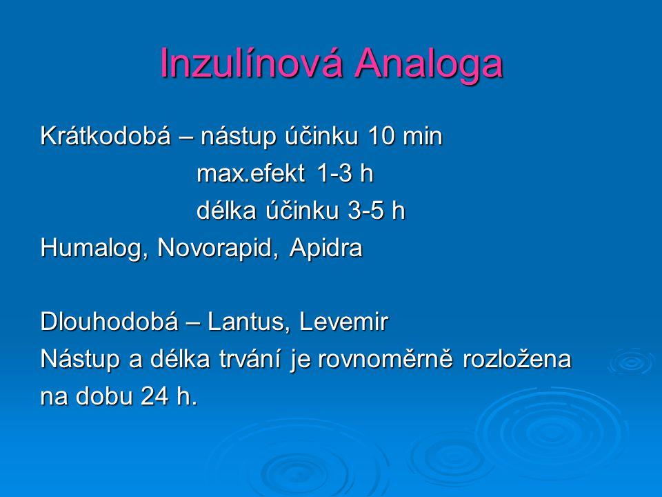 Inzulínová Analoga Krátkodobá – nástup účinku 10 min max.efekt 1-3 h max.efekt 1-3 h délka účinku 3-5 h délka účinku 3-5 h Humalog, Novorapid, Apidra Dlouhodobá – Lantus, Levemir Nástup a délka trvání je rovnoměrně rozložena na dobu 24 h.