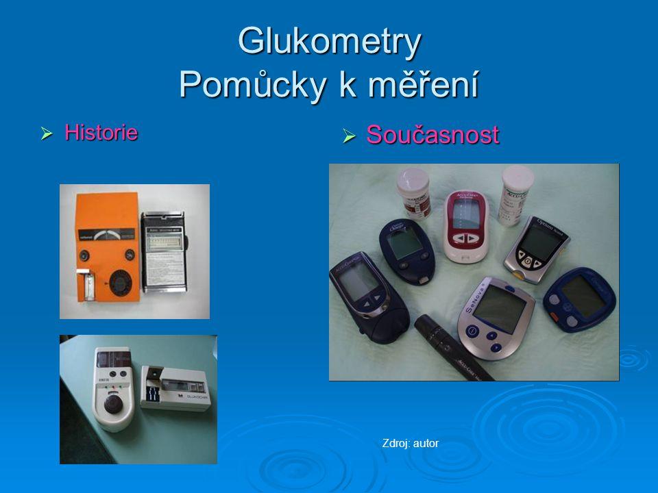 Glukometry Pomůcky k měření  Historie  Současnost Zdroj: autor