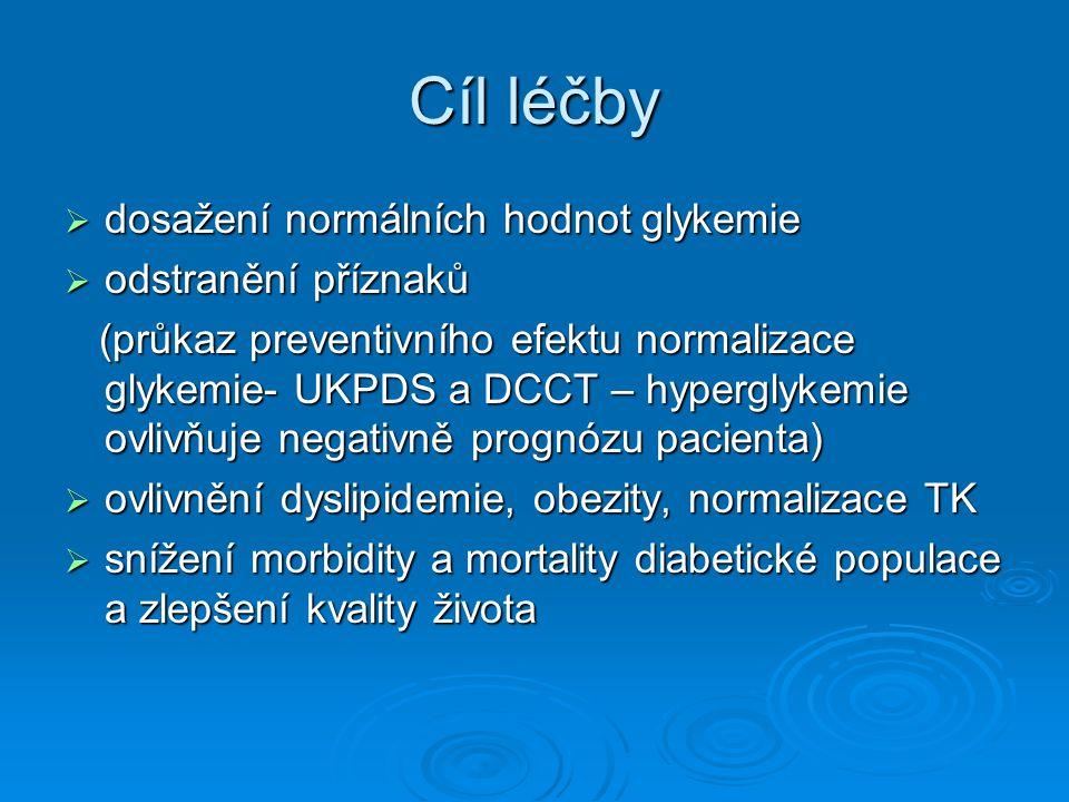 Cíl léčby  dosažení normálních hodnot glykemie  odstranění příznaků (průkaz preventivního efektu normalizace glykemie- UKPDS a DCCT – hyperglykemie ovlivňuje negativně prognózu pacienta) (průkaz preventivního efektu normalizace glykemie- UKPDS a DCCT – hyperglykemie ovlivňuje negativně prognózu pacienta)  ovlivnění dyslipidemie, obezity, normalizace TK  snížení morbidity a mortality diabetické populace a zlepšení kvality života