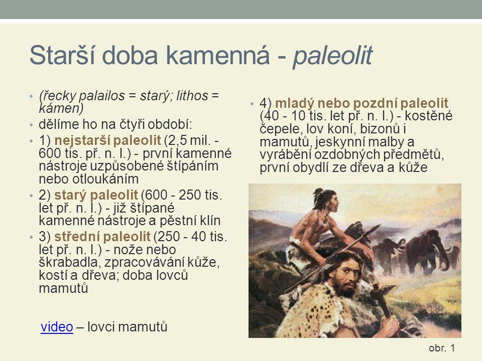 Starší doba kamenná - paleolit (řecky palailos = starý; lithos = kámen) dělíme ho na čtyři období: 1) nejstarší paleolit (2,5 mil. - 600 tis. př. n. l