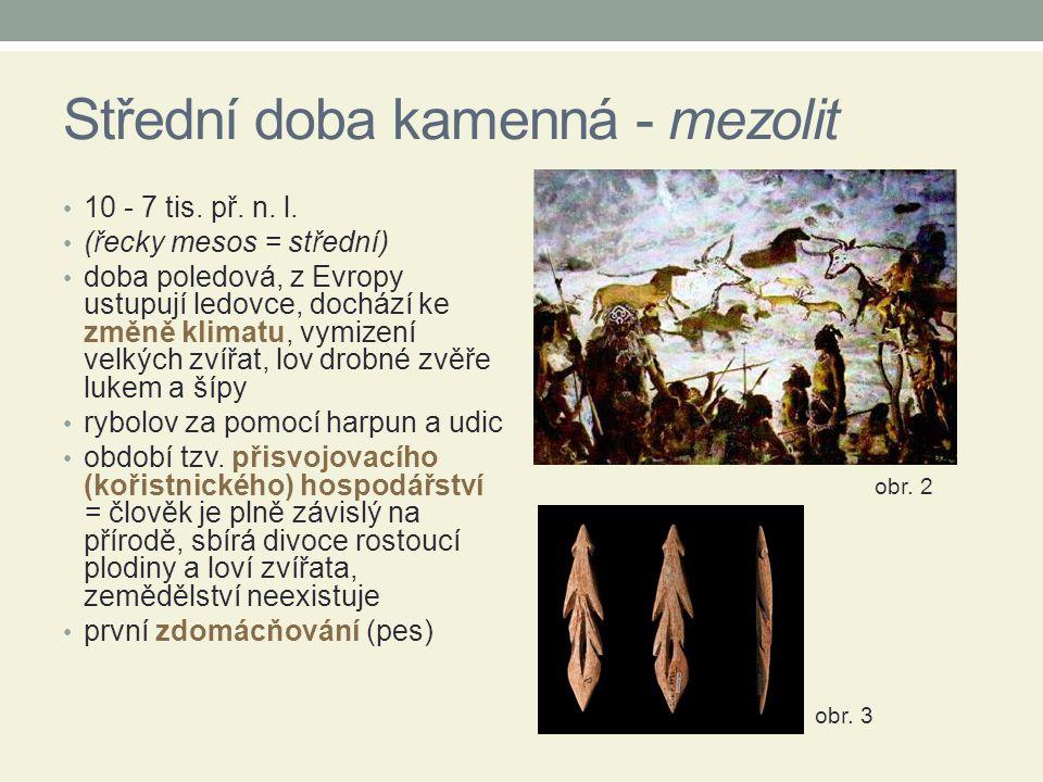 Střední doba kamenná - mezolit 10 - 7 tis. př. n. l. (řecky mesos = střední) doba poledová, z Evropy ustupují ledovce, dochází ke změně klimatu, vymiz