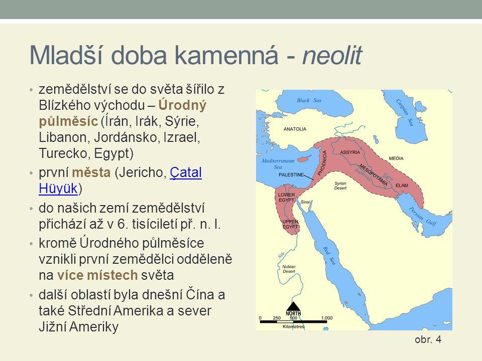 Mladší doba kamenná - neolit zemědělství se do světa šířilo z Blízkého východu – Úrodný půlměsíc (Írán, Irák, Sýrie, Libanon, Jordánsko, Izrael, Turec