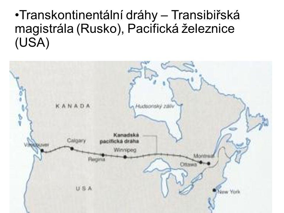 Transkontinentální dráhy – Transibiřská magistrála (Rusko), Pacifická železnice (USA)