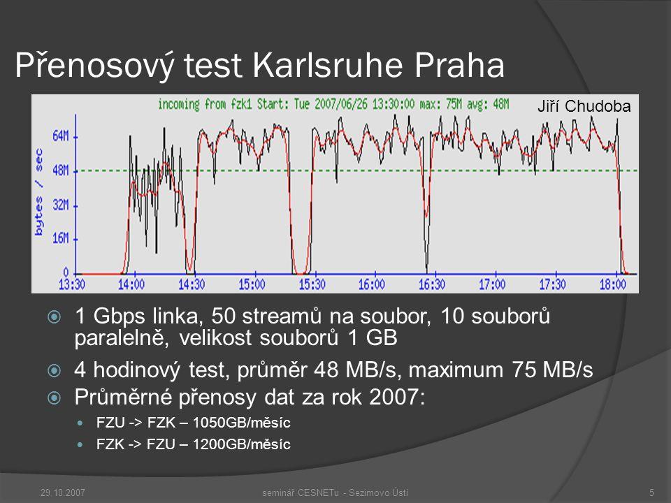 Přenosový test Karlsruhe Praha  1 Gbps linka, 50 streamů na soubor, 10 souborů paralelně, velikost souborů 1 GB  4 hodinový test, průměr 48 MB/s, maximum 75 MB/s  Průměrné přenosy dat za rok 2007: FZU -> FZK – 1050GB/měsíc FZK -> FZU – 1200GB/měsíc 29.10.2007seminář CESNETu - Sezimovo Ústí5 Jiří Chudoba