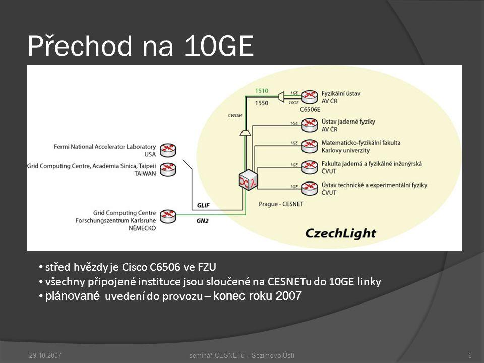 Přechod na 10GE 29.10.2007seminář CESNETu - Sezimovo Ústí6 střed hvězdy je Cisco C6506 ve FZU všechny připojené instituce jsou sloučené na CESNETu do 10GE linky plánované uvedení do provozu – konec roku 2007