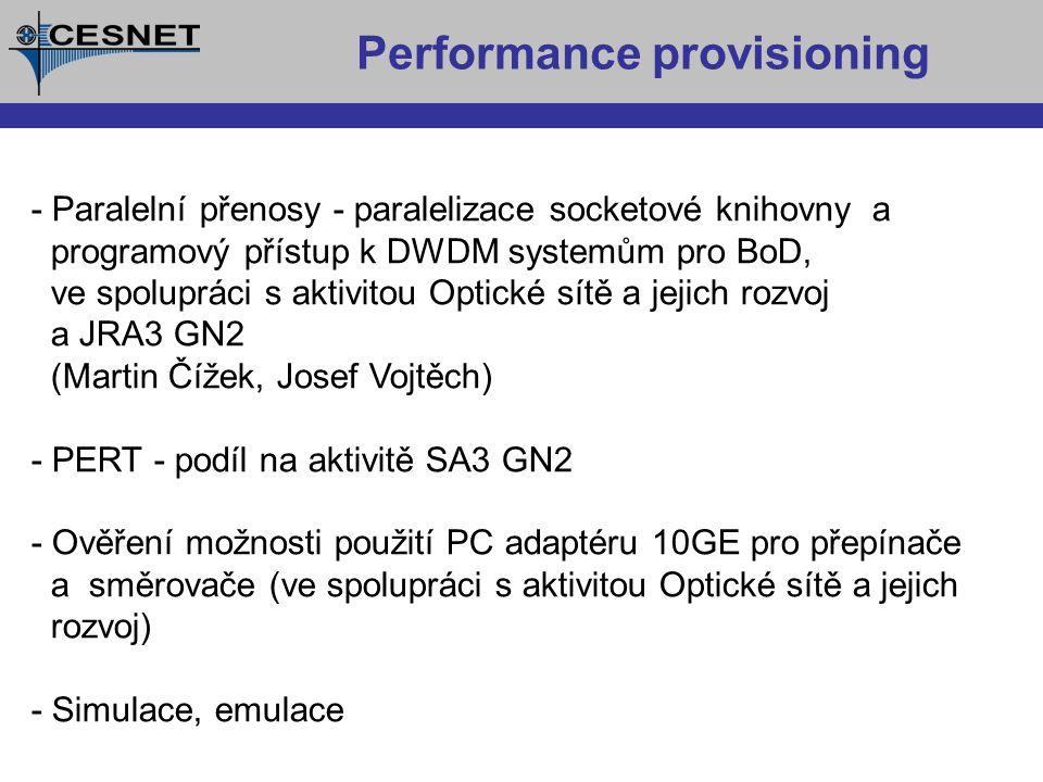 Vztahy k jiným aktivitám Projekt SCAMPI - architektura pro pasivní monitorování Projekt LOBSTER - nasazení SCAMPI architektury především pro security monitoring GN2 JRA1 - Performance monitoring GN2 SA3 - Evaluation and deployment of performance measurement systém GN2 JRA3 - New service development (BoD) GN2 JRA2 - Security