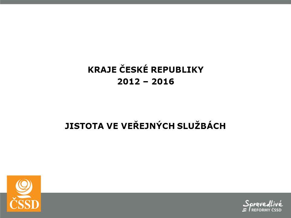 KRAJE ČESKÉ REPUBLIKY 2012 – 2016 JISTOTA VE VEŘEJNÝCH SLUŽBÁCH