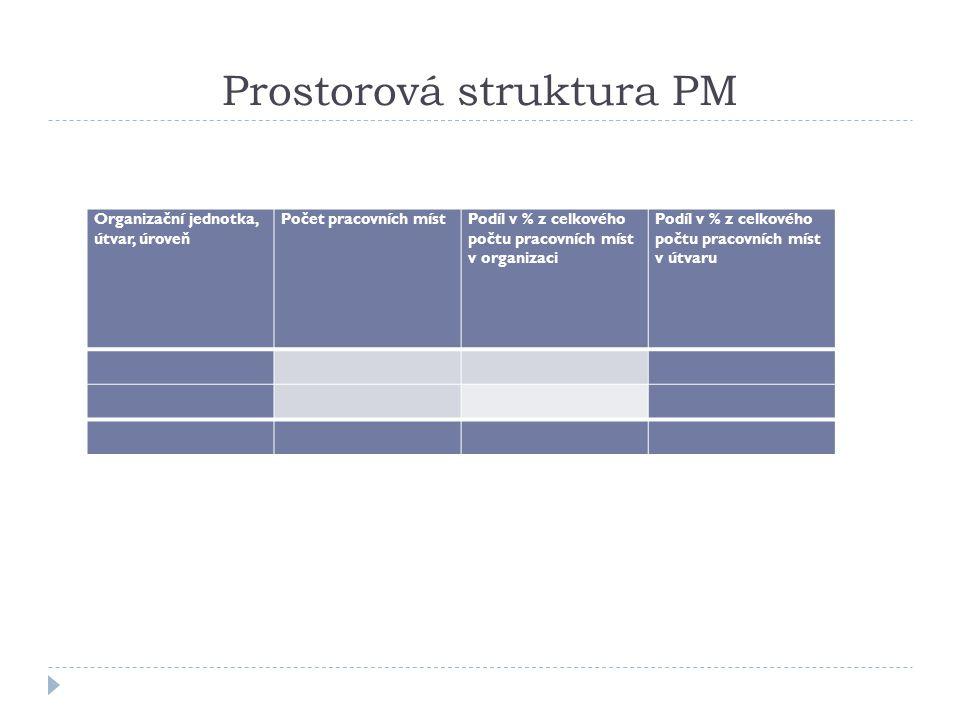 Prostorová struktura PM Organizační jednotka, útvar, úroveň Počet pracovních místPodíl v % z celkového počtu pracovních míst v organizaci Podíl v % z
