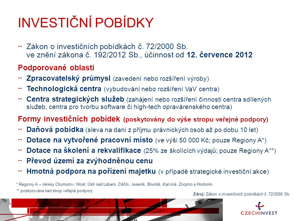INVESTIČNÍ POBÍDKY Zákon o investičních pobídkách č.