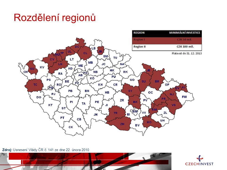 Zdroj: Usnesení Vlády ČR č. 141 ze dne 22. února 2010 Rozdělení regionů