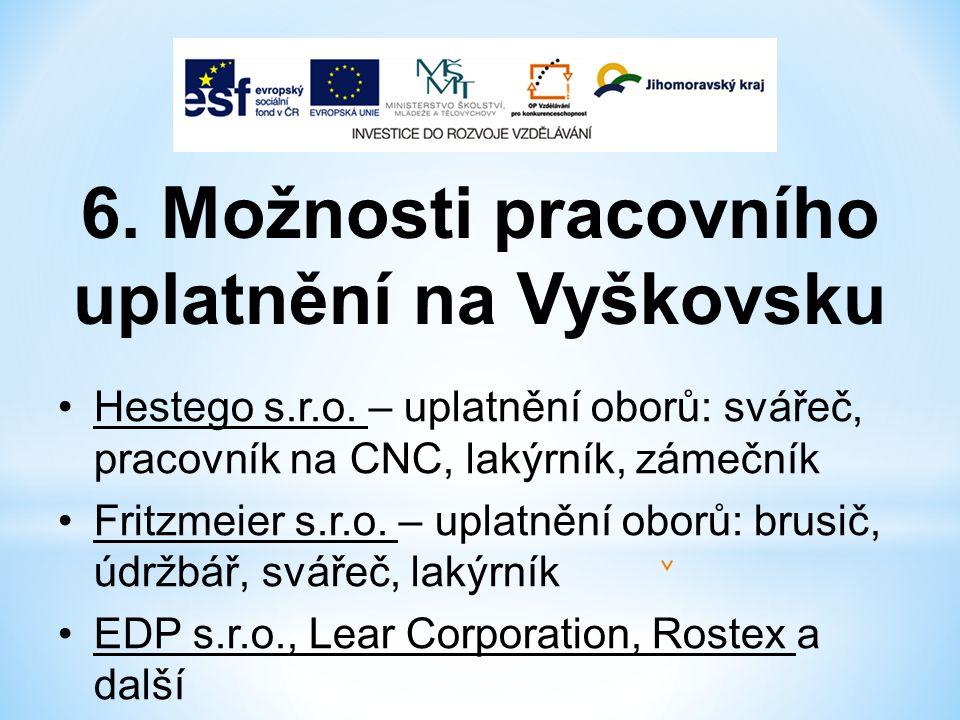 6. Možnosti pracovního uplatnění na Vyškovsku Hestego s.r.o.