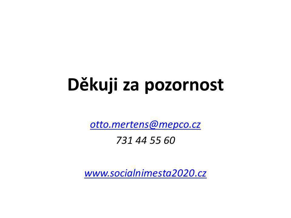 Děkuji za pozornost otto.mertens@mepco.cz 731 44 55 60 www.socialnimesta2020.cz