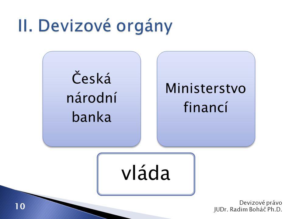 Devizové právo JUDr. Radim Boháč Ph.D. 10 Česká národní banka Ministerstvo financí vláda