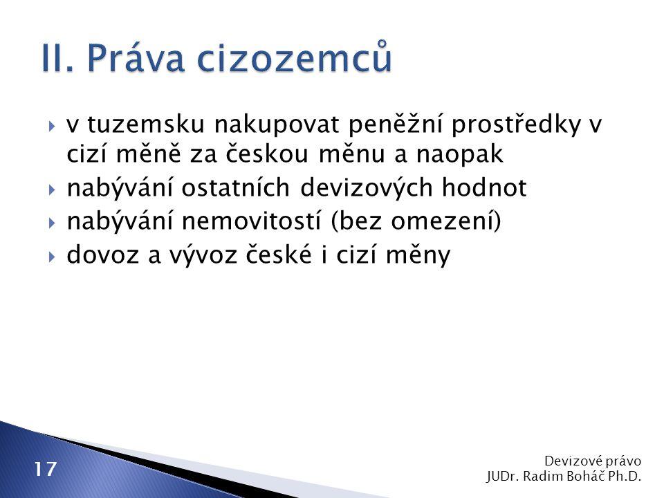  v tuzemsku nakupovat peněžní prostředky v cizí měně za českou měnu a naopak  nabývání ostatních devizových hodnot  nabývání nemovitostí (bez omeze
