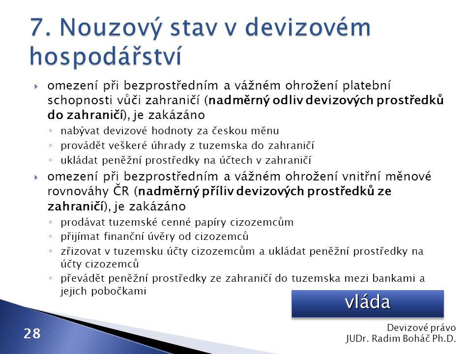  omezení při bezprostředním a vážném ohrožení platební schopnosti vůči zahraničí (nadměrný odliv devizových prostředků do zahraničí), je zakázáno ◦ nabývat devizové hodnoty za českou měnu ◦ provádět veškeré úhrady z tuzemska do zahraničí ◦ ukládat peněžní prostředky na účtech v zahraničí  omezení při bezprostředním a vážném ohrožení vnitřní měnové rovnováhy ČR (nadměrný příliv devizových prostředků ze zahraničí), je zakázáno ◦ prodávat tuzemské cenné papíry cizozemcům ◦ přijímat finanční úvěry od cizozemců ◦ zřizovat v tuzemsku účty cizozemcům a ukládat peněžní prostředky na účty cizozemců ◦ převádět peněžní prostředky ze zahraničí do tuzemska mezi bankami a jejich pobočkami Devizové právo JUDr.