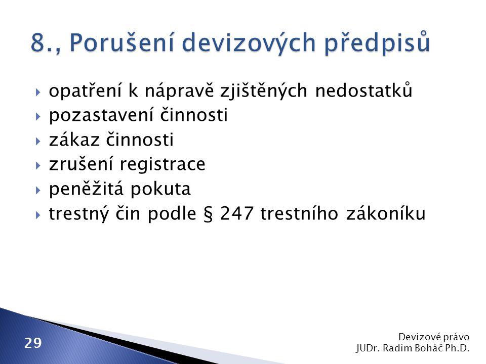  opatření k nápravě zjištěných nedostatků  pozastavení činnosti  zákaz činnosti  zrušení registrace  peněžitá pokuta  trestný čin podle § 247 trestního zákoníku Devizové právo JUDr.