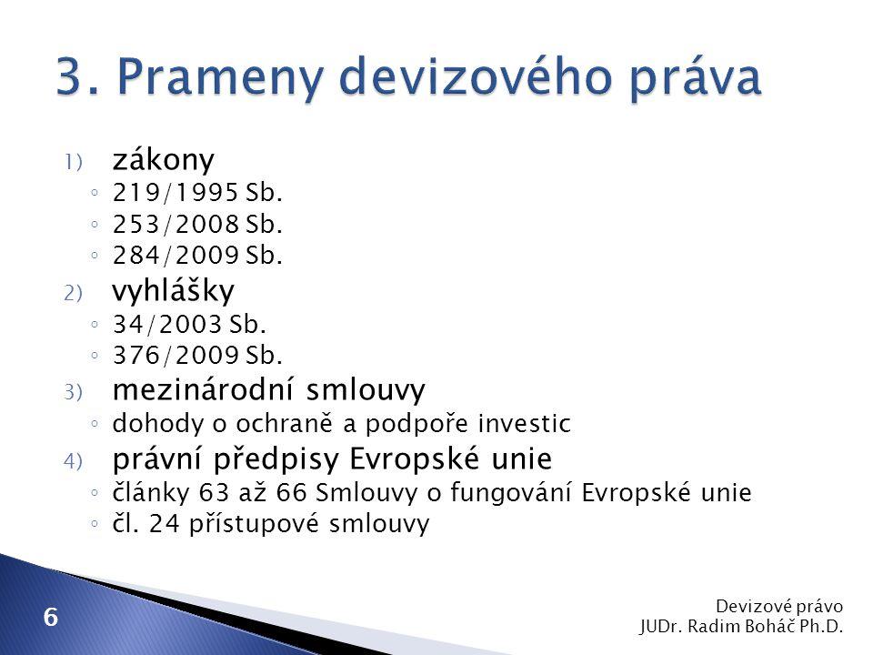 Devizové právo JUDr.Radim Boháč Ph.D. 7 I. Fyzické a právnické osoby včetně devizových míst II.