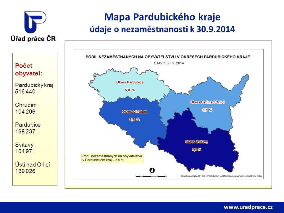 Mapa Pardubického kraje údaje o nezaměstnanosti k 30.9.2014 Počet obyvatel: Pardubický kraj 516 440 Chrudim 104 206 Pardubice 168 237 Svitavy 104 971 Ústí nad Orlicí 139 026