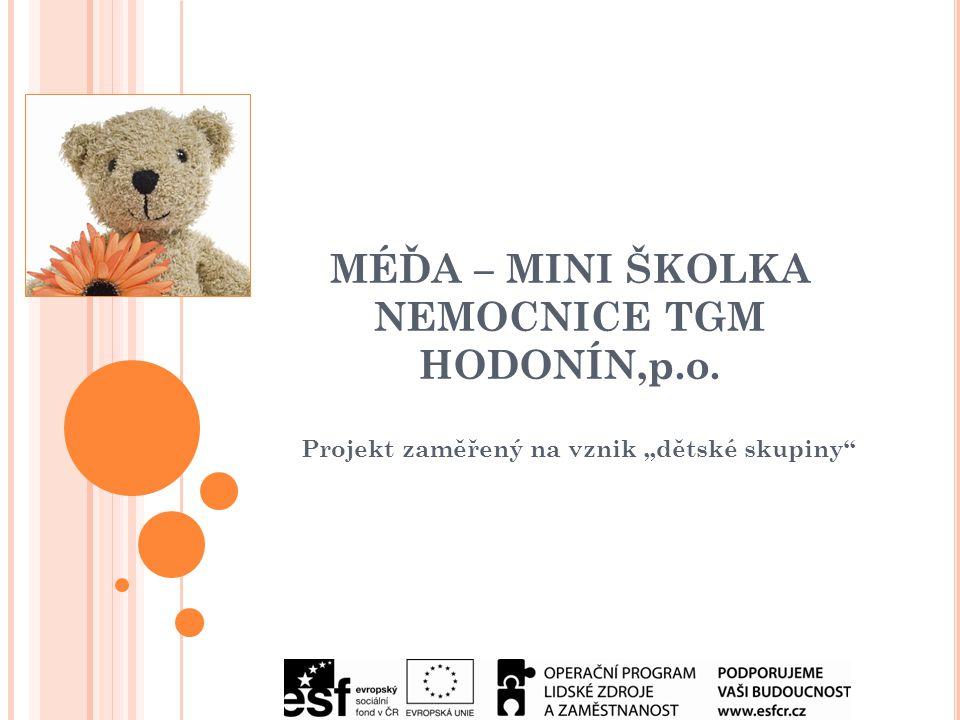 """MÉĎA – MINI ŠKOLKA NEMOCNICE TGM HODONÍN,p.o. Projekt zaměřený na vznik """"dětské skupiny"""
