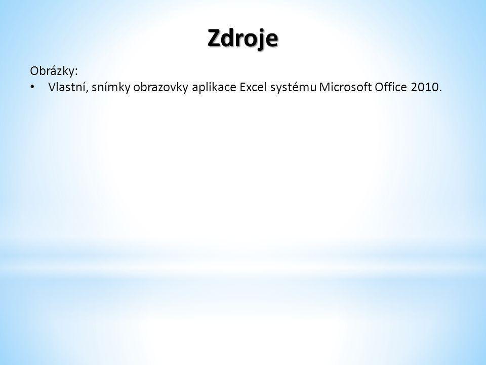 Zdroje Obrázky: Vlastní, snímky obrazovky aplikace Excel systému Microsoft Office 2010.