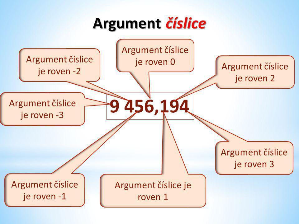Argument číslice 9 456,194 Argument číslice je roven -3 Argument číslice je roven -2 Argument číslice je roven 3 Argument číslice je roven 1 Argument