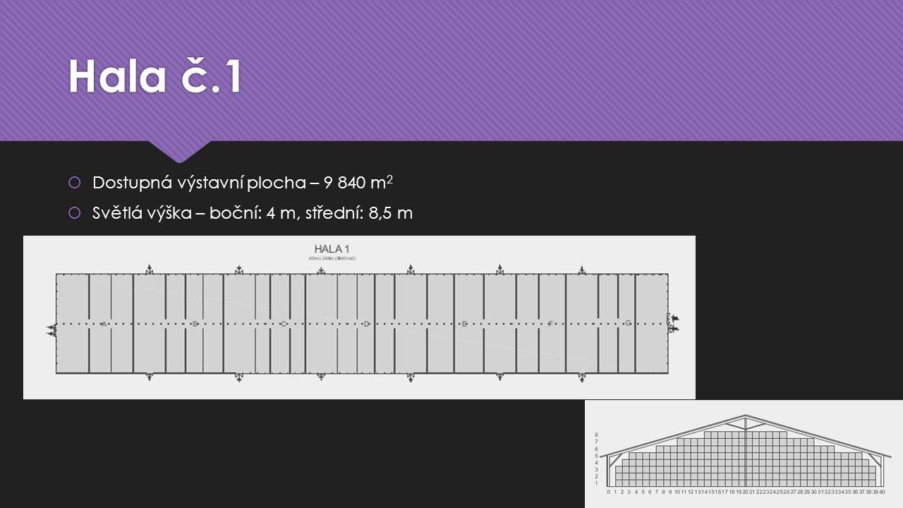 Hala č.1  Dostupná výstavní plocha – 9 840 m 2  Světlá výška – boční: 4 m, střední: 8,5 m  Dostupná výstavní plocha – 9 840 m 2  Světlá výška – bo
