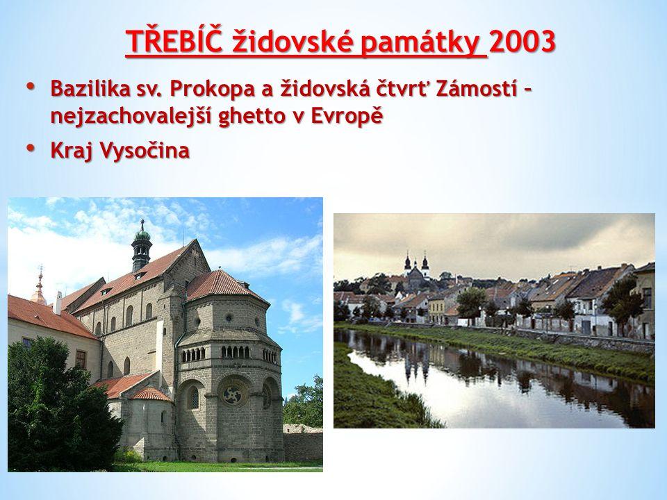 TŘEBÍČ židovské památky 2003 Bazilika sv. Prokopa a židovská čtvrť Zámostí – nejzachovalejší ghetto v Evropě Bazilika sv. Prokopa a židovská čtvrť Zám