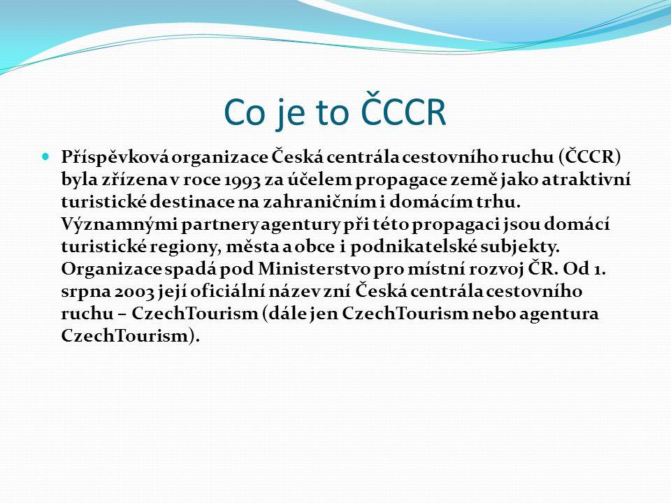 Co je to ČCCR Příspěvková organizace Česká centrála cestovního ruchu (ČCCR) byla zřízena v roce 1993 za účelem propagace země jako atraktivní turistic