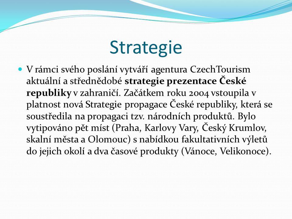Strategie V rámci svého poslání vytváří agentura CzechTourism aktuální a střednědobé strategie prezentace České republiky v zahraničí. Začátkem roku 2