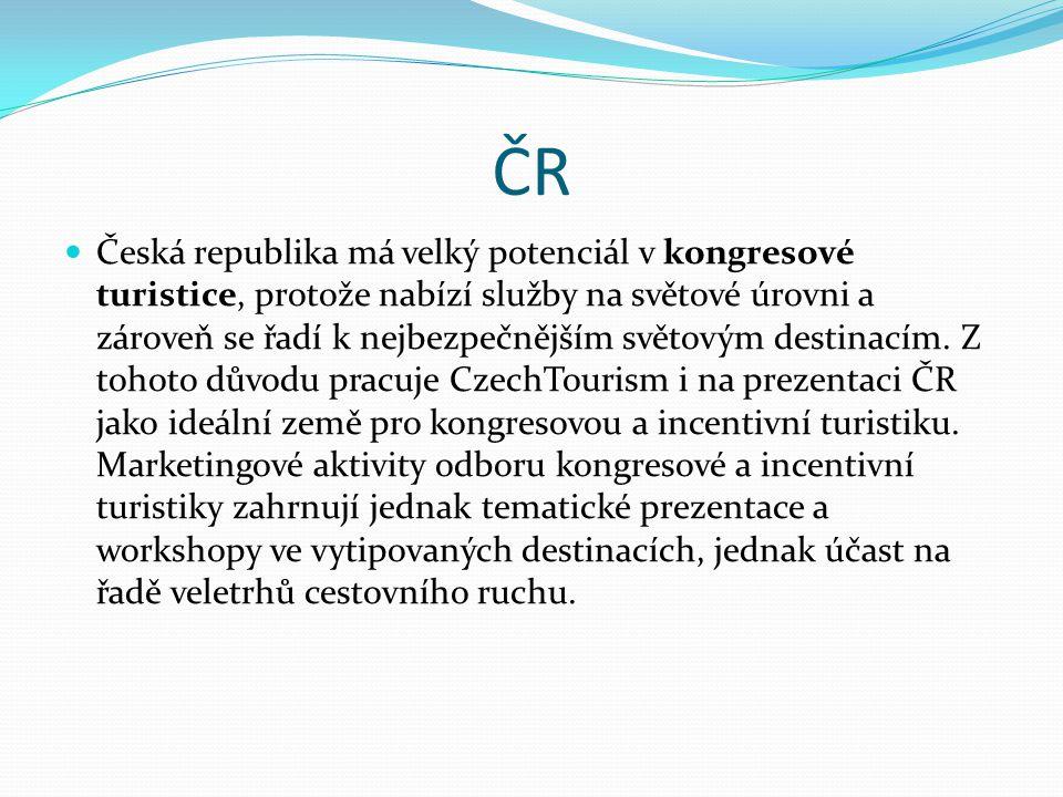 ČR Česká republika má velký potenciál v kongresové turistice, protože nabízí služby na světové úrovni a zároveň se řadí k nejbezpečnějším světovým des