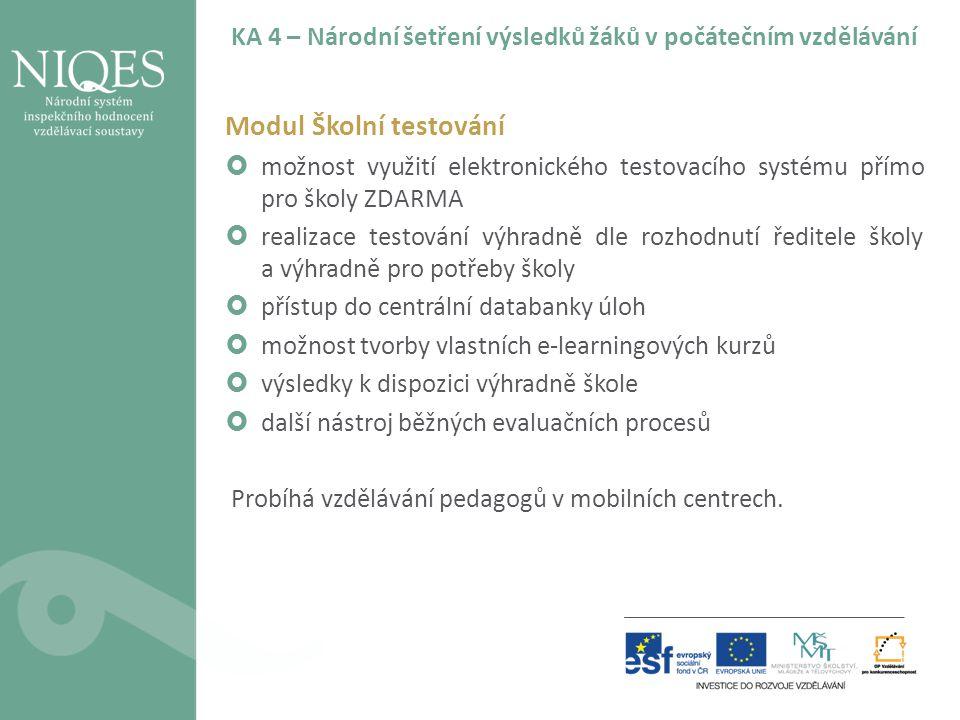 KA 4 – Národní šetření výsledků žáků v počátečním vzdělávání Modul Školní testování  možnost využití elektronického testovacího systému přímo pro ško