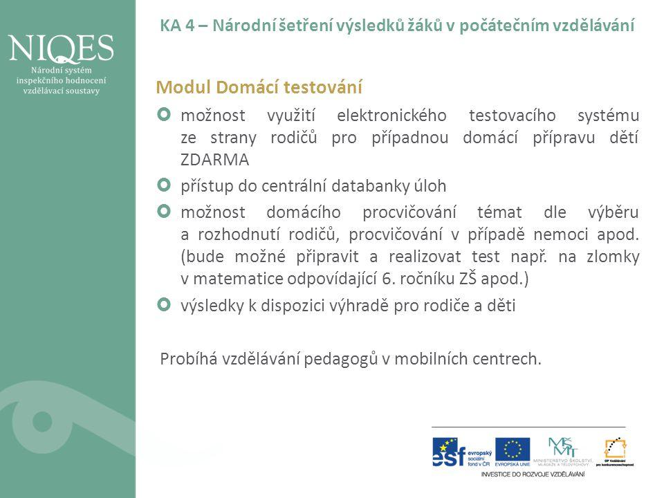 KA 4 – Národní šetření výsledků žáků v počátečním vzdělávání Modul Domácí testování  možnost využití elektronického testovacího systému ze strany rod