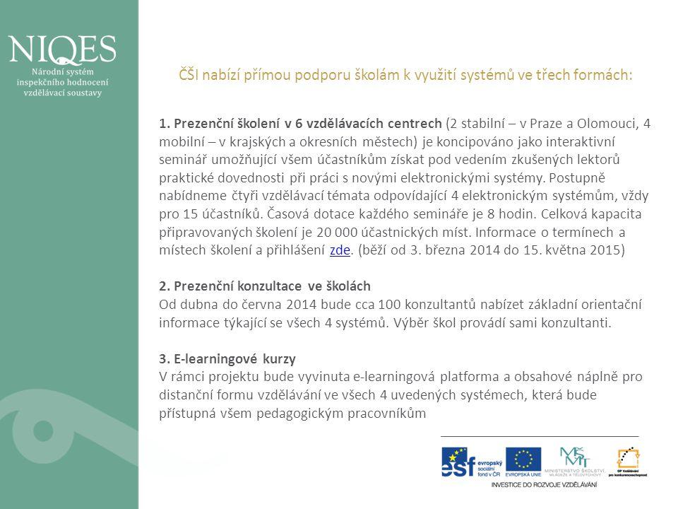 ČŠI nabízí přímou podporu školám k využití systémů ve třech formách: 1. Prezenční školení v 6 vzdělávacích centrech (2 stabilní – v Praze a Olomouci,