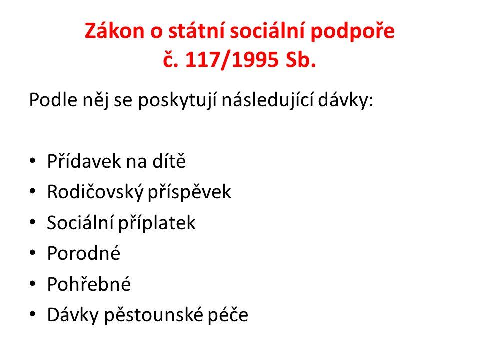 Zákon o státní sociální podpoře č.117/1995 Sb.