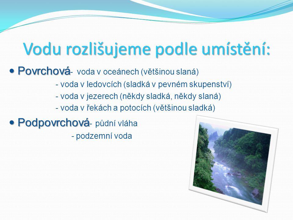 Pitná voda- je vhodná ke každodennímu použití, je zbavená nečistot, obsahuje vyvážené množství minerálních látek tak, aby neškodily zdraví, např.