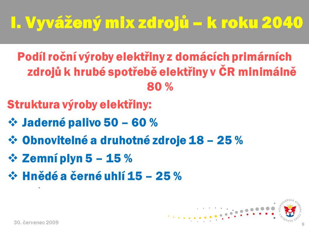 30. červenec 2009 9 Podíl roční výroby elektřiny z domácích primárních zdrojů k hrubé spotřebě elektřiny v ČR minimálně 80 % Struktura výroby elektřin
