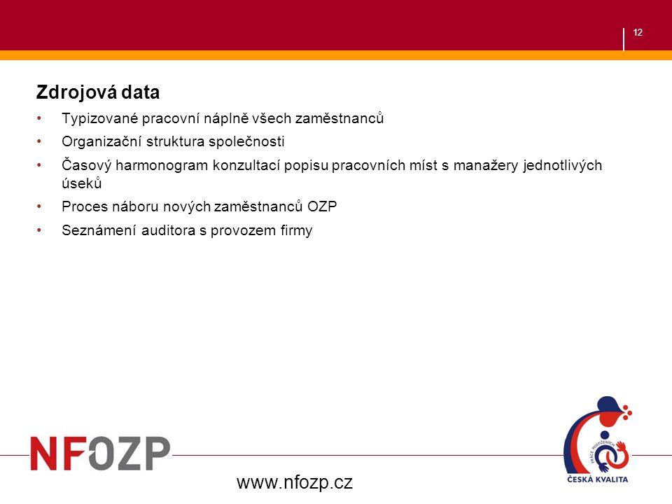 12 Zdrojová data Typizované pracovní náplně všech zaměstnanců Organizační struktura společnosti Časový harmonogram konzultací popisu pracovních míst s