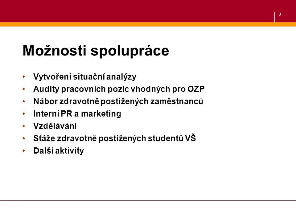 3 Možnosti spolupráce Vytvoření situační analýzy Audity pracovních pozic vhodných pro OZP Nábor zdravotně postižených zaměstnanců Interní PR a marketi