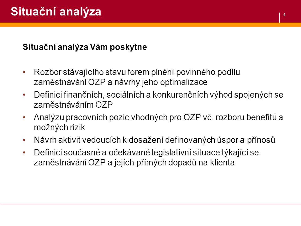 4 Situační analýza Situační analýza Vám poskytne Rozbor stávajícího stavu forem plnění povinného podílu zaměstnávání OZP a návrhy jeho optimalizace De