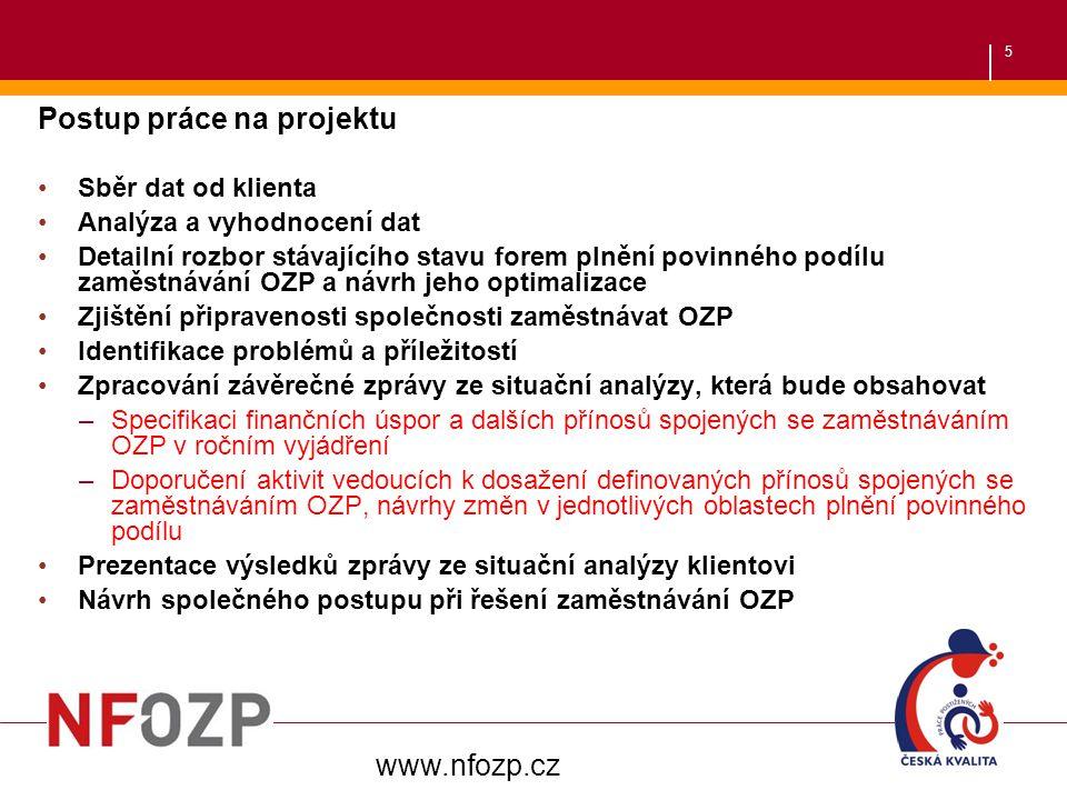 5 Postup práce na projektu Sběr dat od klienta Analýza a vyhodnocení dat Detailní rozbor stávajícího stavu forem plnění povinného podílu zaměstnávání