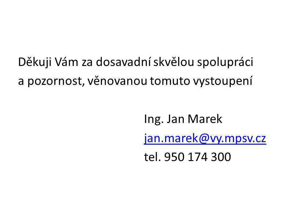 Děkuji Vám za dosavadní skvělou spolupráci a pozornost, věnovanou tomuto vystoupení Ing. Jan Marek jan.marek@vy.mpsv.cz tel. 950 174 300