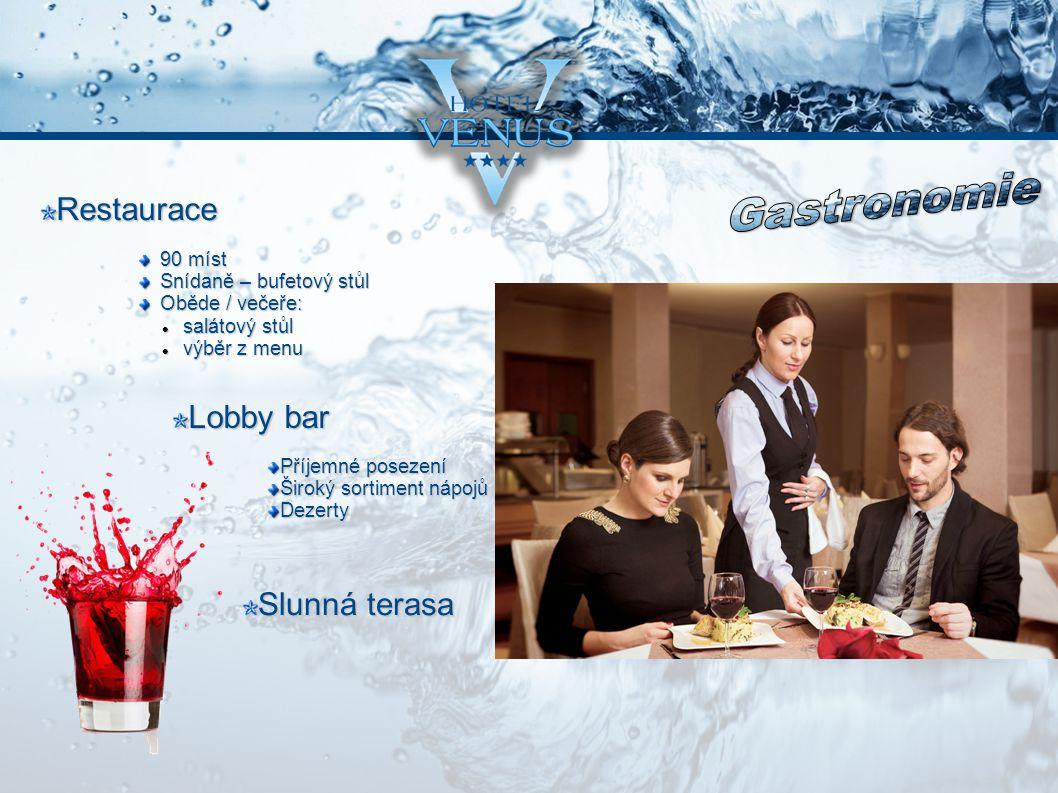 Restaurace Lobby bar Slunná terasa 90 míst Snídaně – bufetový stůl Oběde / večeře: salátový stůl salátový stůl výběr z menu výběr z menu Příjemné posezení Široký sortiment nápojů Dezerty