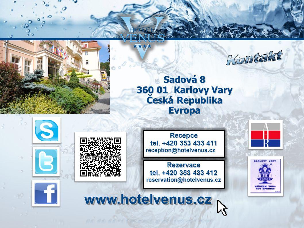 Sadová 8 360 01 Karlovy Vary Česká Republika Evropa Recepce tel.