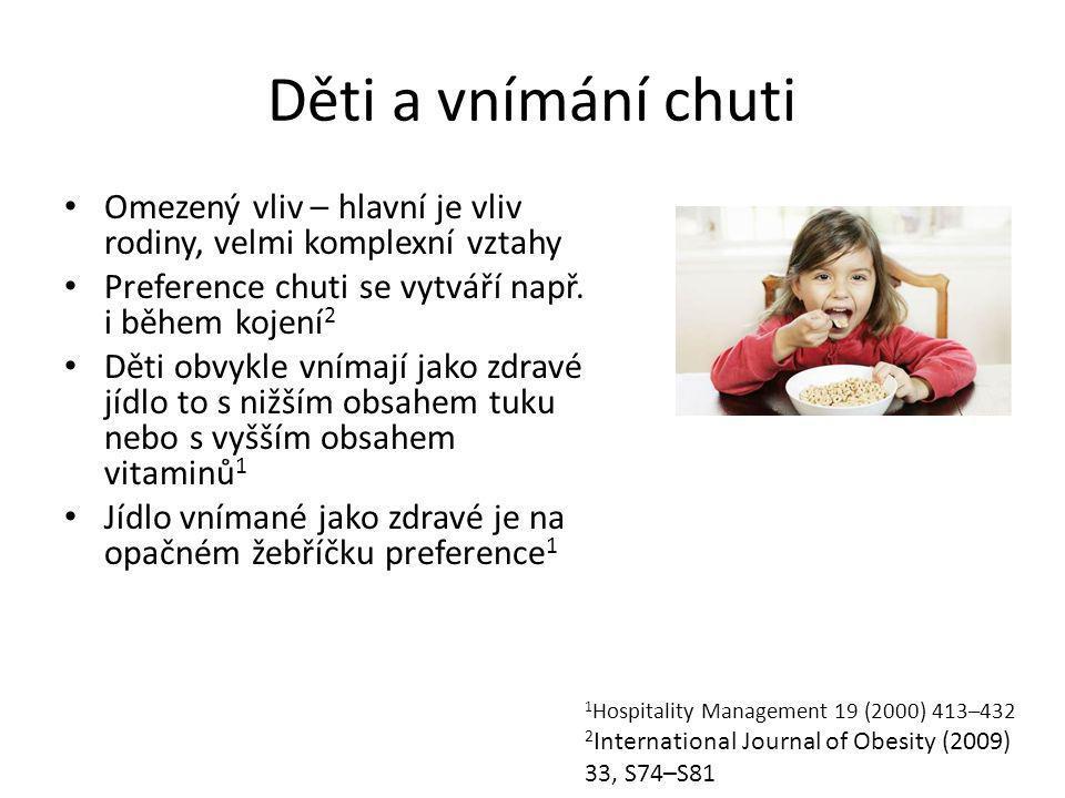 Děti a vnímání chuti Omezený vliv – hlavní je vliv rodiny, velmi komplexní vztahy Preference chuti se vytváří např.