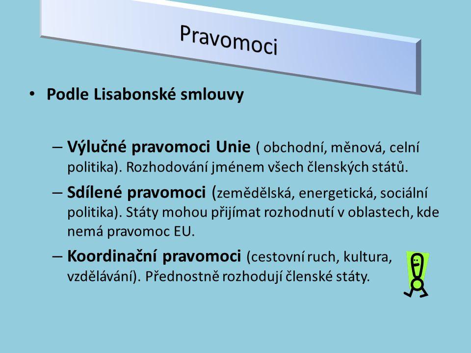 Podle Lisabonské smlouvy – Výlučné pravomoci Unie ( obchodní, měnová, celní politika).