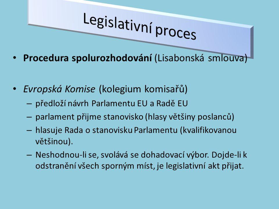 Procedura spolurozhodování (Lisabonská smlouva) Evropská Komise (kolegium komisařů) – předloží návrh Parlamentu EU a Radě EU – parlament přijme stanovisko (hlasy většiny poslanců) – hlasuje Rada o stanovisku Parlamentu (kvalifikovanou většinou).