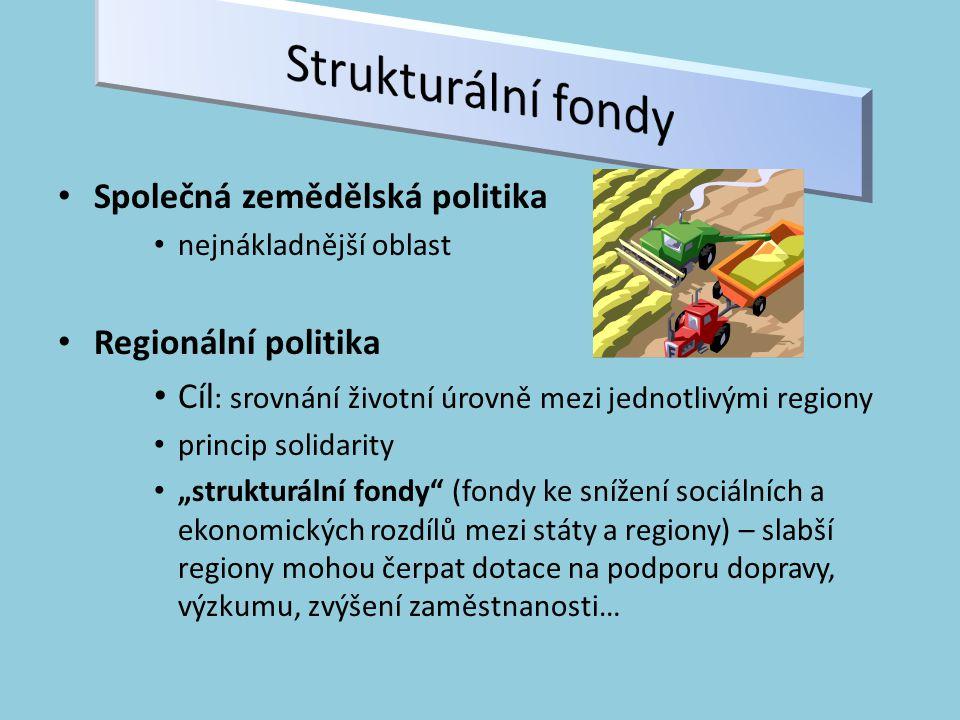 """Společná zemědělská politika nejnákladnější oblast Regionální politika Cíl : srovnání životní úrovně mezi jednotlivými regiony princip solidarity """"strukturální fondy (fondy ke snížení sociálních a ekonomických rozdílů mezi státy a regiony) – slabší regiony mohou čerpat dotace na podporu dopravy, výzkumu, zvýšení zaměstnanosti…"""