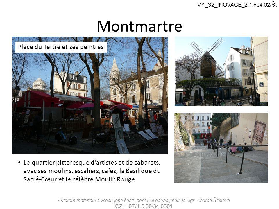 Montmartre Le quartier pittoresque d'artistes et de cabarets, avec ses moulins, escaliers, cafés, la Basilique du Sacré-Cœur et le célèbre Moulin Roug